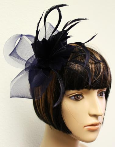 Navy Feather Hair Clip