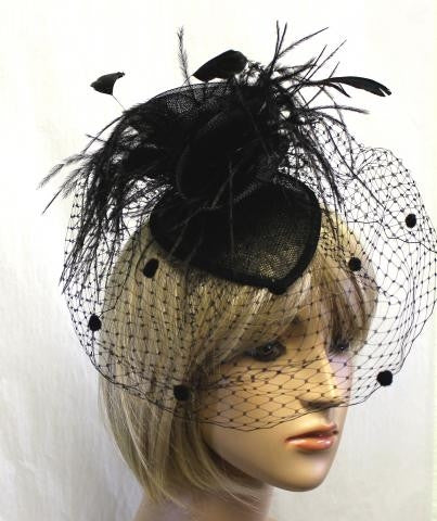 Black Feather HAT WITH VEIL
