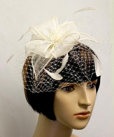 IVORY Birdcage Veil With Knit Flower