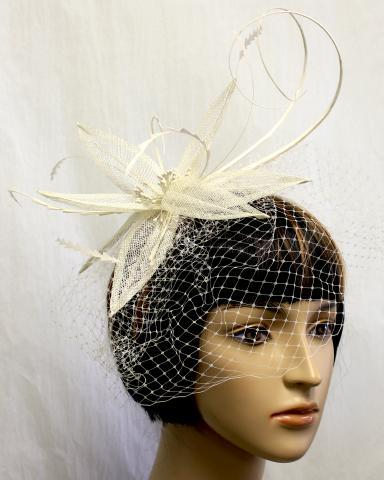 IVORY Color Feather Hat with a veil