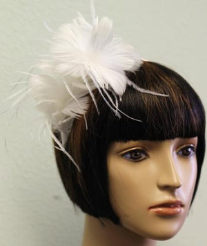 White Feather Flower Bridal Headband