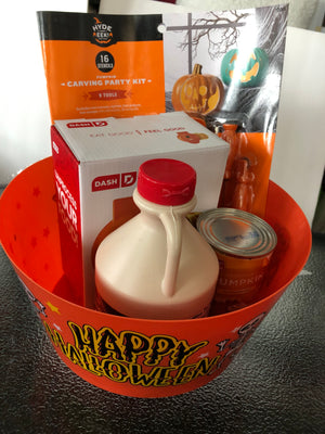 BUNDLE: PUMPKIN WAFFLE GRILL, ,JUG MAPLE SYRUP, CAN OF PUMPKIN, 9 TOOLS PUMPKIN, HALLOWEEN PARTY BOWL CARVING KIT