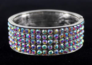Silver Bangle bracelet with AB crystal stone