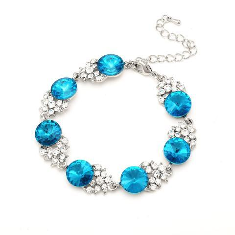 BLUE COLOR STONE BRACELETS WITH CLEAR RHINESTONES  COMES IN 7 COLORS.