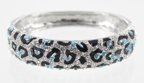 Leopard Pattern Crystal Stone Bangle Bracelet