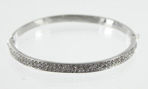 Silver Base Clear Stone Bangle Bracelet