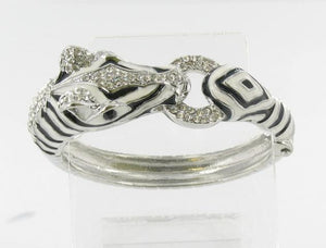 Silver base Clear patterned bracelet