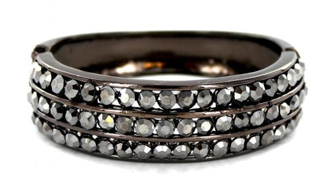 Gun Metal Base Hematite Black Stone Bangle Bracelet