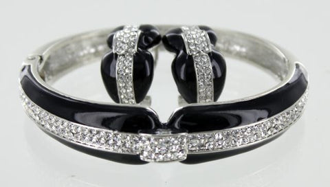 Silver Base Black Bracelet and Earring Set