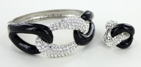 Silver Base Black Clear Stone Bangle Bracelet and Ring Set