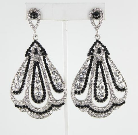 Silver base Black stone earring