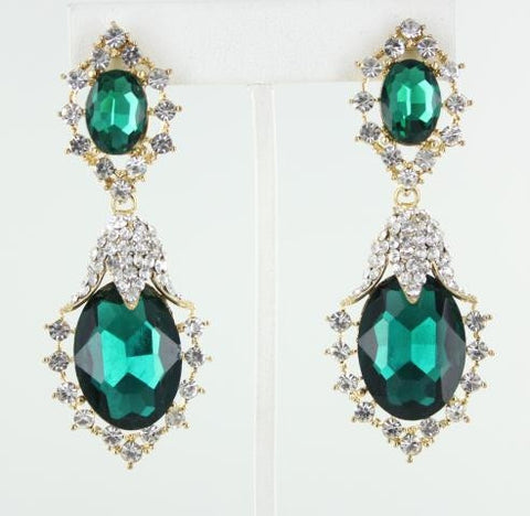 Gold base Emerald stone earring