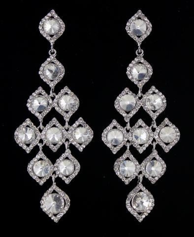 Silver base Clear stone earring