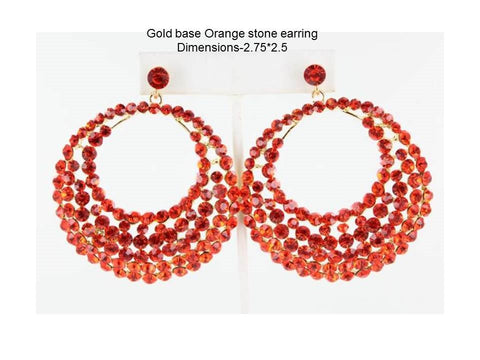 Gold base Oange stone earringDimensions-2.75*2.5