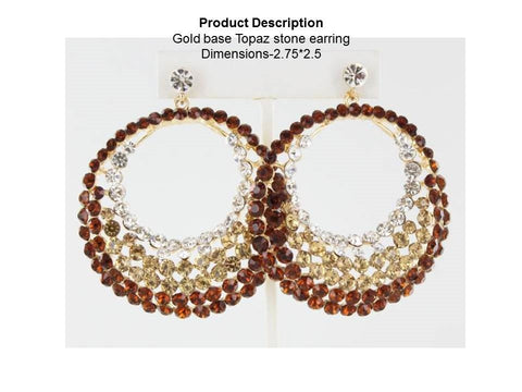 Gold base Topaz stone earringDimensions-2.75*2.5