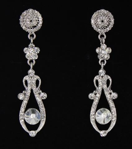 silver base AB stone earring