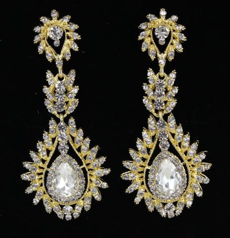 Gold Base Clear Stone Earring
