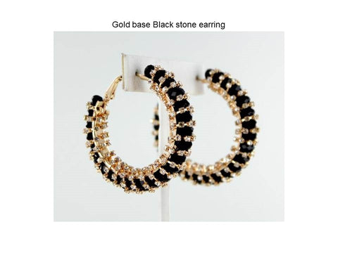 Gold base Black stone earring