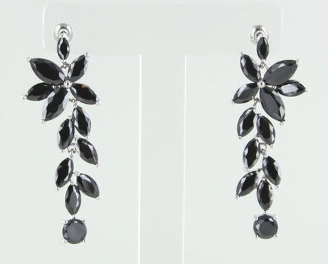Silver Base Ruby Black Crystal Stone Earring