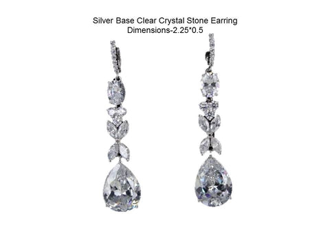 Silver Base Clear Crystal Stone Earring Dimensions-2.25*0.5