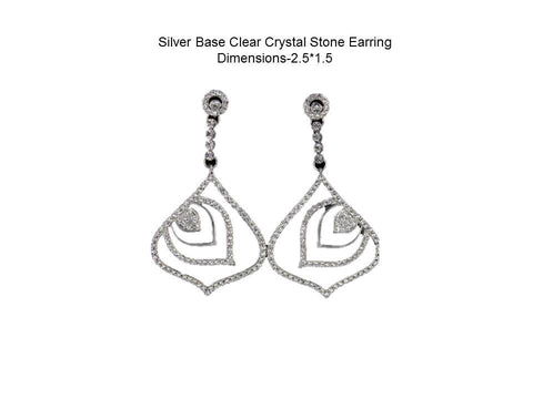 Silver Base Clear Crystal Stone EarringDimensions-2.5*1.5