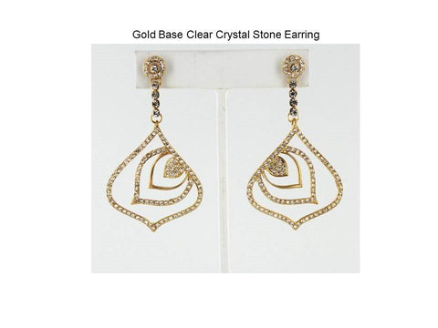 Gold Base Clear Crystal Stone EarringDimensions-2.5*1.5