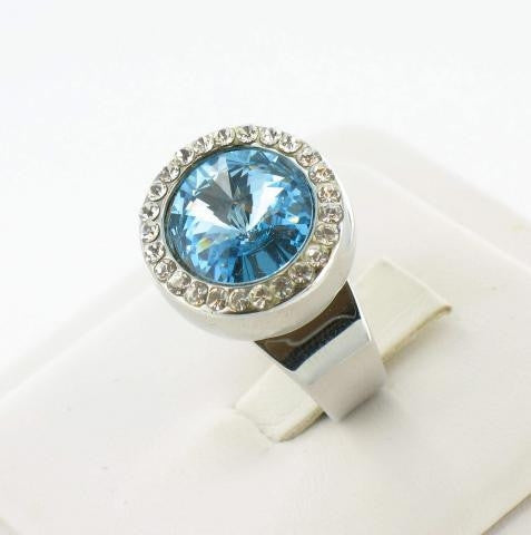Silver Base Aquamarine Blue Stone Adjustable Ring