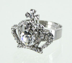 Silver Base (001) & Clear Crystal Stone Crown Adjustable Ring