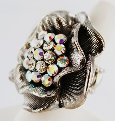 AB & Clear Crystal Stone Ring one size fits all