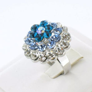 Silver Adjustable Base CBO Blue Stone Ring