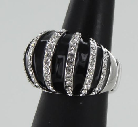 Silver Base Black & Clear Crystal Stone Bubble Ring