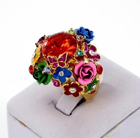 Gold Base Multi Color Stone Ring