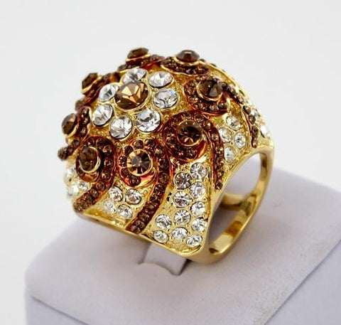 Gold Base Smoked Topaz & Clear Crystal Stone Bubble Ring
