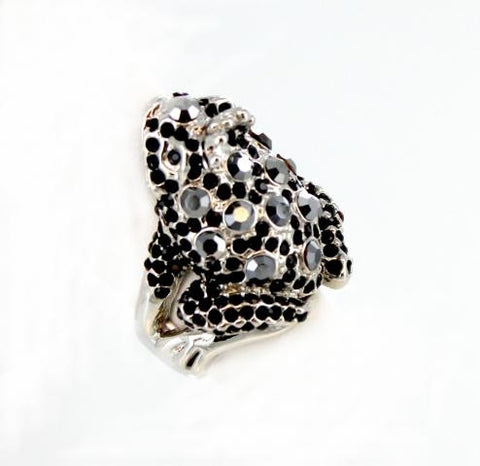 Silver Base Black & Clear Crystal Stone Prince Frog Ring