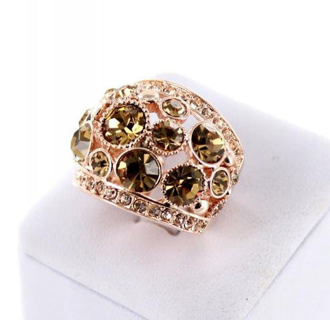 Gold Base Topaz Crystal Stone Ring