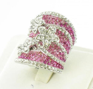 Silver base pink stone ring