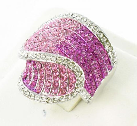 Silver Base Light Rose Pink (223) Stone Ring