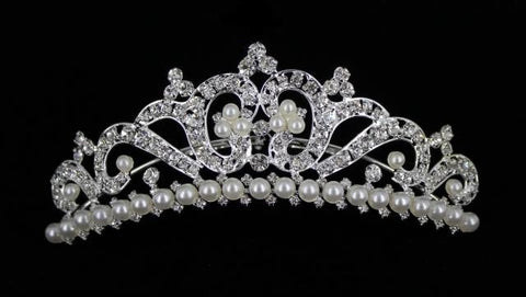 Silver Base Clear Crystal & Pearl Comb Tiara.