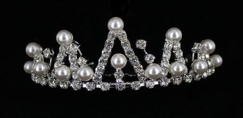 Silver Base Pearl & Clear Crystal Stone Tiara