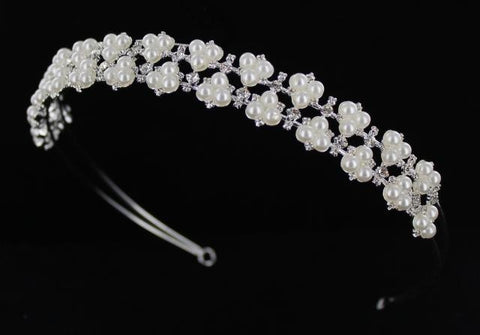 Silver Base Clear Crystal & Pearl Headband.