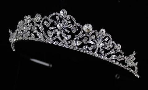 Silver base Clear stone bridal tiara