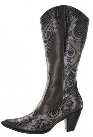 Pewter (Gun Metal) bling boots