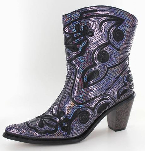 Black blue bling short boots