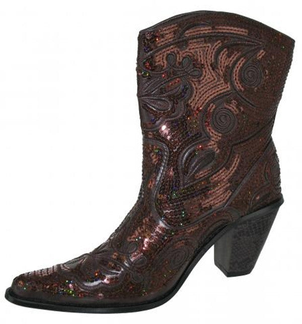 Bronze bling short boot
