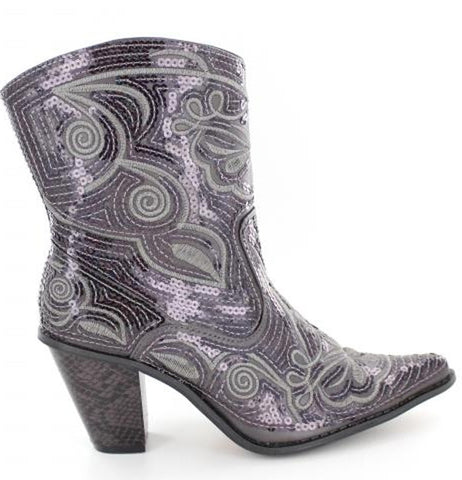 Grey bling short boots