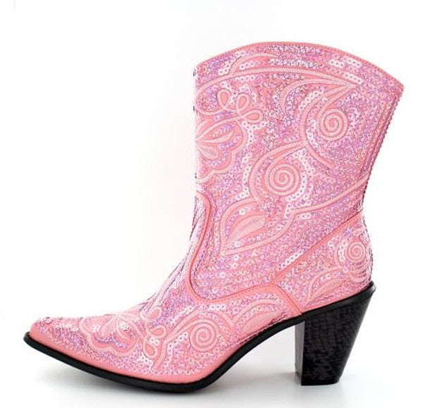 Pink bling short boots