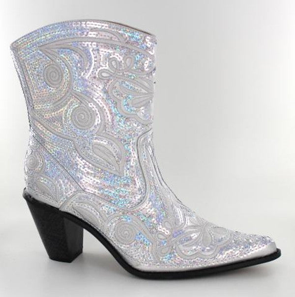 Silver bling short boots