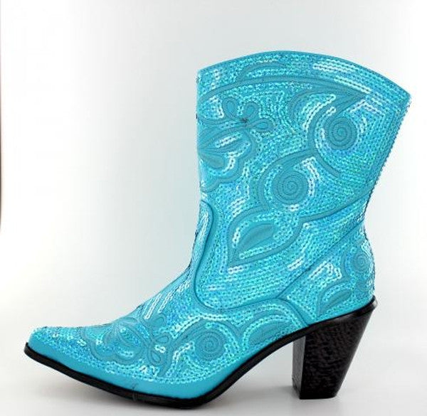 Turquoise bling short boots