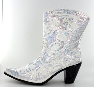 White Sequined Short Bling Wedding Boots