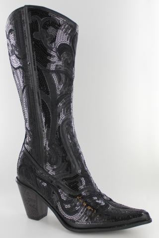 Black V2 Sequin Bling Boots